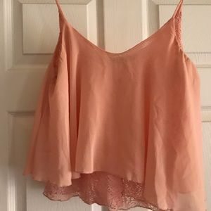 Tops - Light pink sheer and lace crop tank